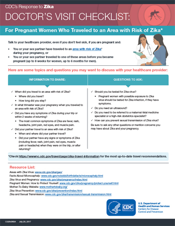 Doctor's visit checklist: For pregnant women who traveled to an area with Zika fact sheet thumbnail