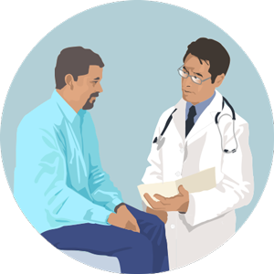 Gráfico de un médico con un paciente