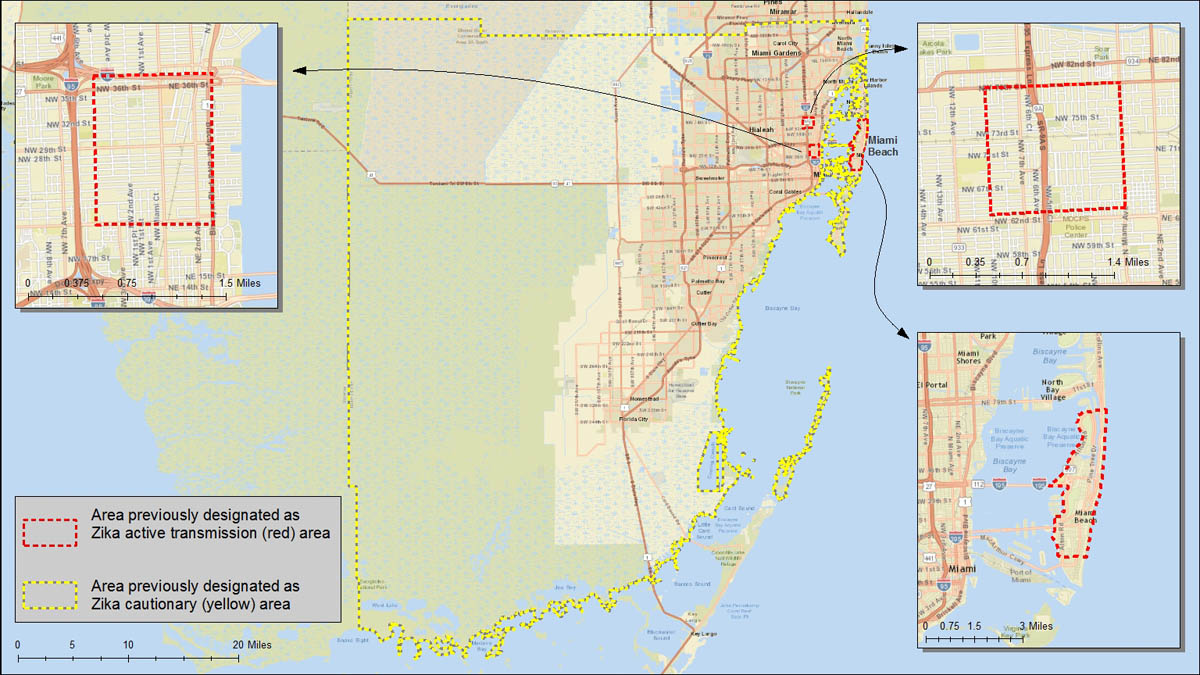 South Florida Maps Zika Virus CDC - Florida map hallandale