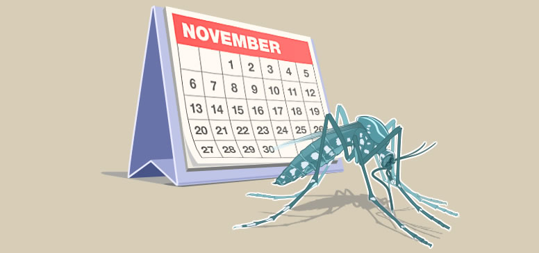 Clipart of a mosquito and a calendar