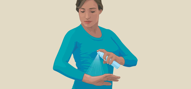 Clipart of a woman spraying insect repellant on her arm