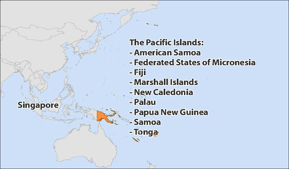 Map of Oceania and Pacific Islands