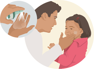 Graphic of dad applying insect repellent to child