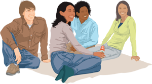 Graphic of a group of people sitting down