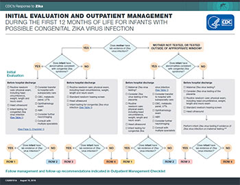 Recommended evaluation and long-term follow up for infants with possible congenital Zika virus infection infographic thumbnail