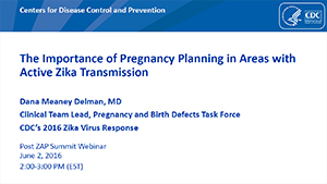 The Importance of Pregnancy Planning in Areas with Active Zika Transmission slide set cover page thumbnail