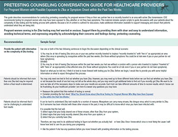 Pretesting counseling conversation guide for healthcare providers for pregnant women with possible exposure to Zika or sympton onset within the past two weeks fact sheet thumbnail