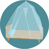 Clipart image of a bed with a mosquito net over it.