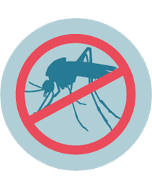 ilustración de un mosquito tachado con una marca roja