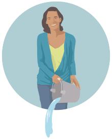 ilustración de una mujer volcando el agua de un balde