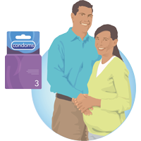 a pregnant couple pictured next to a condom box