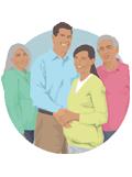 una mujer embarazada junto a su cónyuge y sus padres
