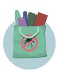 una bolsa llena de productos para prevenir el zika