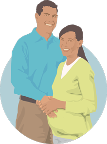 illustration of a man with his hand on his wife's pregnant stomach
