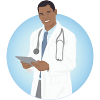 An illustration of a doctor holding a clipboard
