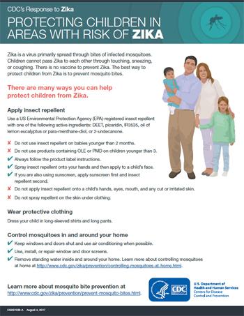 Vista en miniatura de la hoja informativa Cómo proteger a los niños en áreas con zika