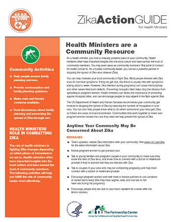 Zika Action Guide for Health Ministers: Health Ministers are a Community Resource fact sheet thumbnail