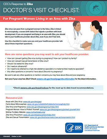 Doctors visit checklist: For pregnant women living in an area with Zika factsheet thumbnail