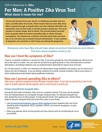 For Men: A positive zika virus test Fact Sheet thumbnail