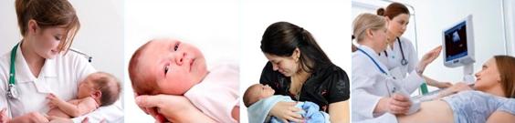 Serie de fotografías que muestran bebés, mujeres y médicos