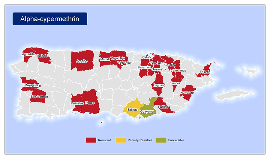 •	Map of insecticide resistance to Alpha-Cypermethrin  in Puerto Rico.