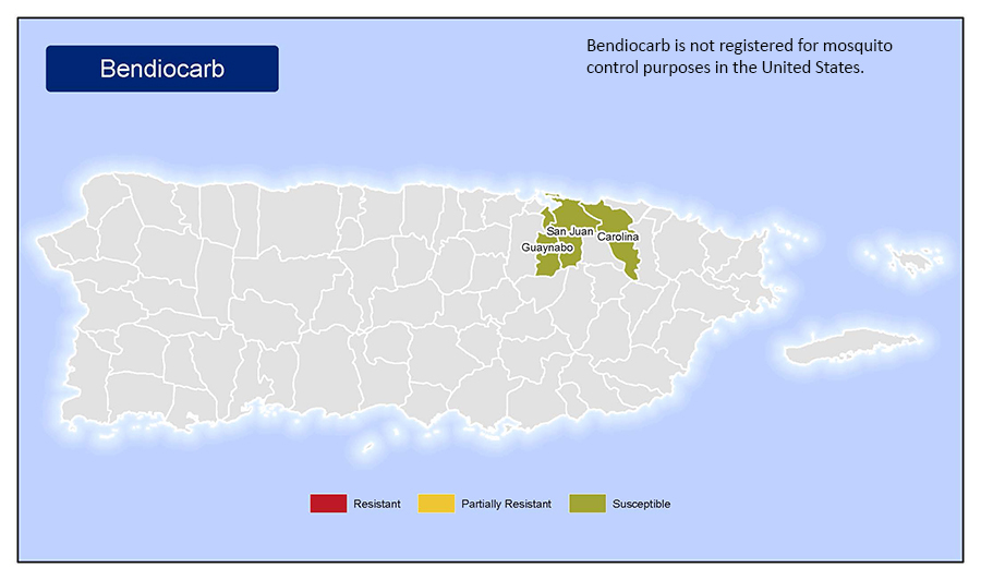 Map of insecticide resistance to Bendiocarb in Puerto Rico.