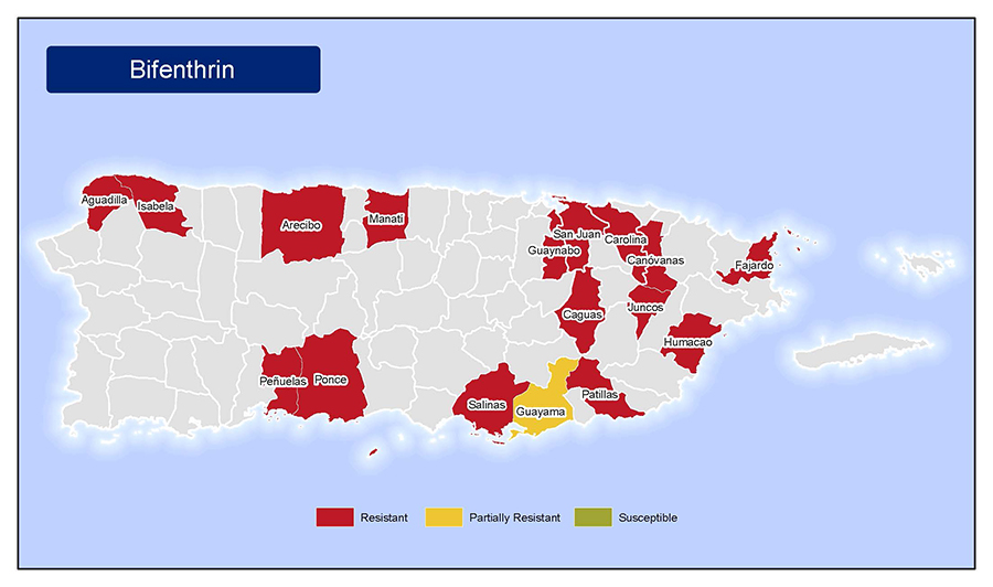•	Map of insecticide resistance to Bifenthrin in Puerto Rico.