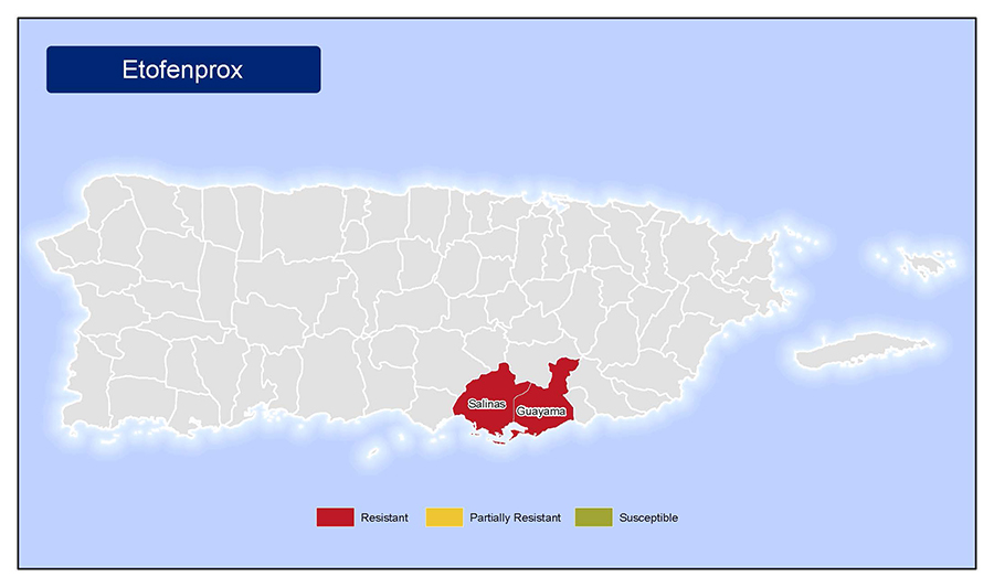 •	Map of insecticide resistance to Etofenprox in Puerto Rico.
