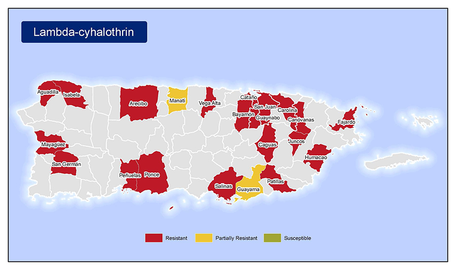 •	Map of insecticide resistance to Lambda-cyhalothrin in Puerto Rico.