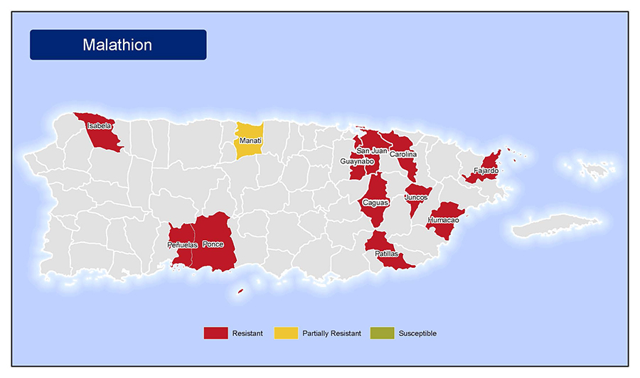 •	Map of insecticide resistance to Malathion in Puerto Rico.