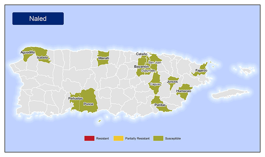 •	Map of insecticide resistance to Naled in Puerto Rico.