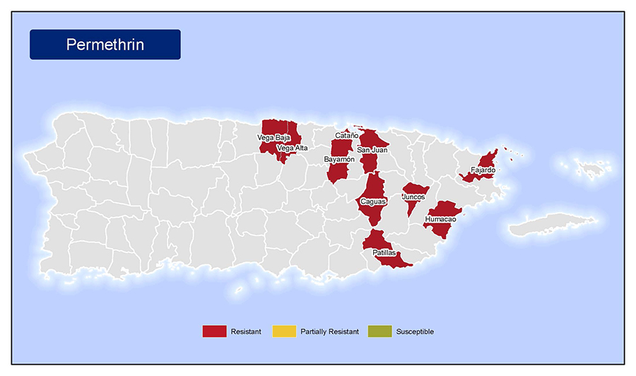 •	Map of insecticide resistance to Permethrin in Puerto Rico.