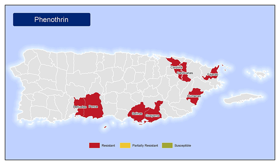 •	Map of insecticide resistance to Phenothrin in Puerto Rico.