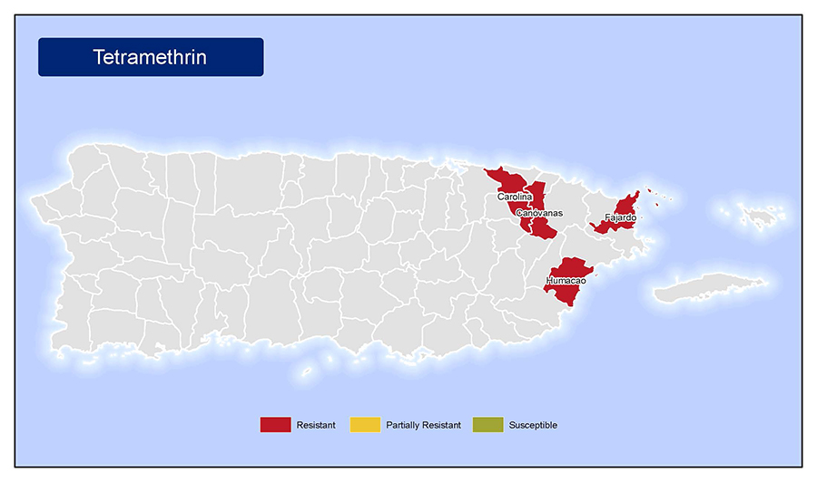 Map of Puerto Rico showing municipalities in Puerto Rico where mosquitoes are resistant to tetramethrin.  Those municipalities are: Carolina, Canovanas, Humacao, and Humacao