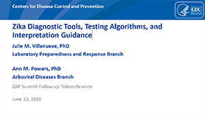 Zika Diagnostic Tools, Testing Algorithms, and Interpretation Guidance slideset cover thumbnail