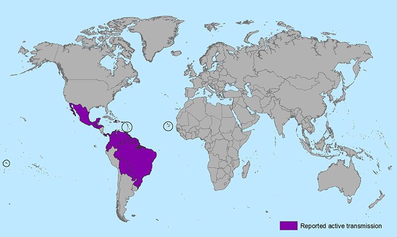 World map showing countries and territories with reported active transmission of Zika virus (as of January 22, 2016). Countries are listed in the table below.