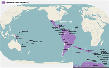 World map showing countries and territories that have reported active Zika virus transmissison
